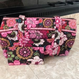 "Vera Bradley ""Mod Floral Pink"" Purse and Wallet"